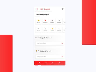 Hospital App concept emoji doctor medical hospital application iphone red gradient dayli mobile clean flat ui app