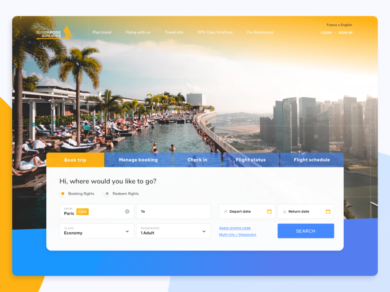 Singapor Airlines - Dayli UI landing class flight airline fly booking book gradient dayli webdesign clean blue ui