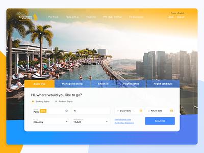 Singapor Airlines - Dayli UI landing class flight airline fly booking book gradient dayli webdesign clean blue ui