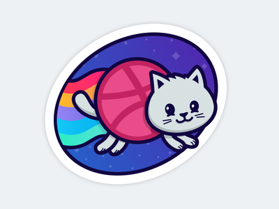 Dribbble Sticker Pack Playoff rainbow ball stickermule sticker dribbble space cat nyan