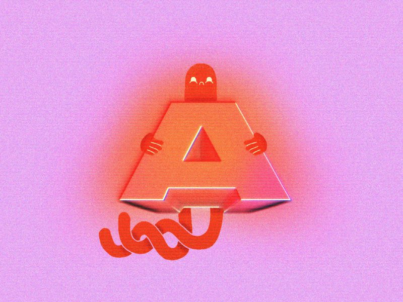 A – 36 Days of Type alien orange pink typography type 80s vcr character daysoftype of days 36 a