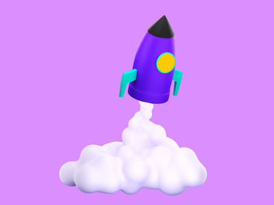 rocket web icon design blender 3d