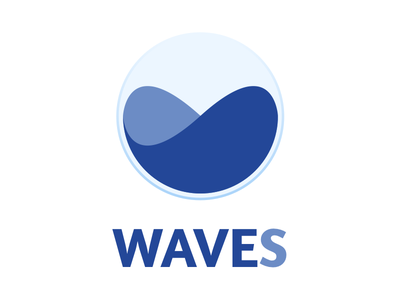 Waves navy blue app logo icon waves