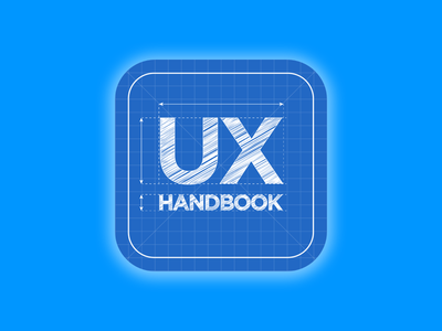 UX Handbook Blueprint blue app logo