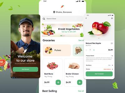 Grocery App Design ecommerce design ecommerce grocery online grocery store graphic design groceryappdesign grocery app branding vineetjaindesign design
