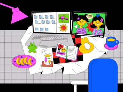 Quarantine #4 icon art vector girl animation love graphic character illustration design