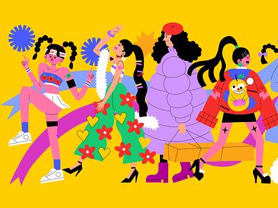 People branding logo icon design girl animation love graphic character illustration