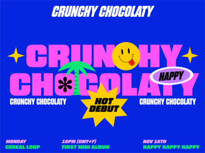 Crunchy Chocolaty logo branding girl animation love graphic character illustration portfolio ui typography poster musician