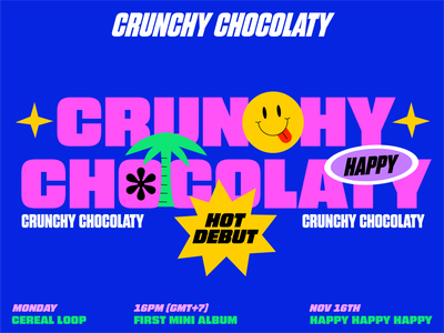 Crunchy Chocolaty logo branding girl animation love graphic character illustration portfolio ui typography poster musician