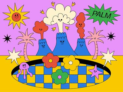 Summer branding logo icon vector girl animation love graphic character illustration