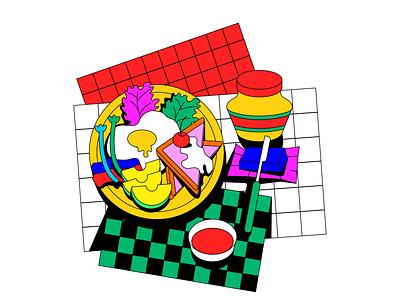 Breakfast logo artwork ui vector icon animation love food graphic character illustration