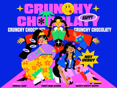 Crunchy Chocolaty ui branding typography logo icon animation love character illustration girl illustration fashion girl