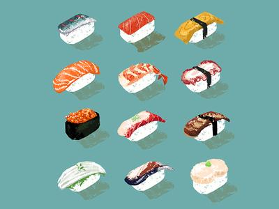 Sushi postcards illustration sushi