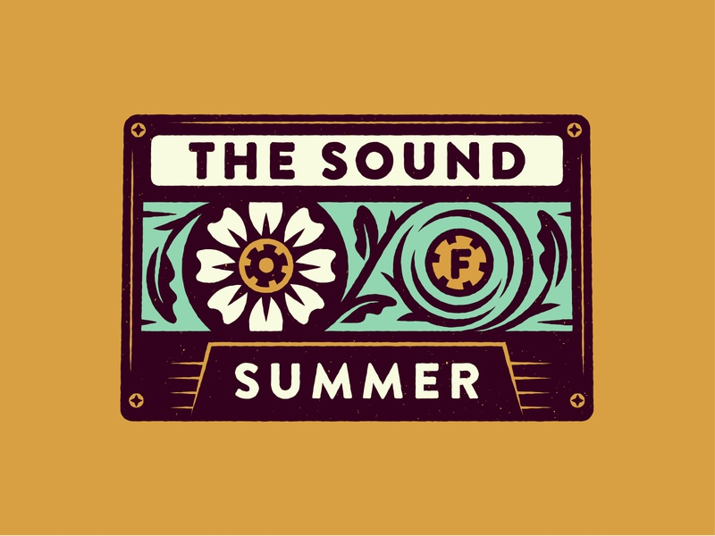 The Sound of Summer type sound texture vintage cassette floral summer spoonspear typography illustration
