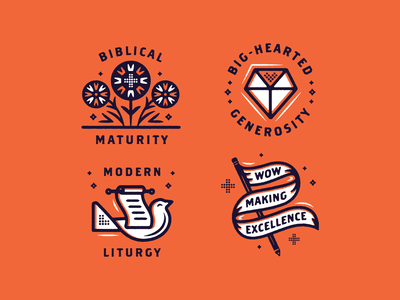 Grace House Rules badge heart diamond pencil flag bird flowers branding type typography illustration