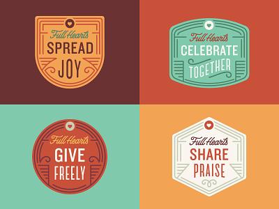ThankFull Hearts yellow orange red typography heart icon sticker badge thanksgiving