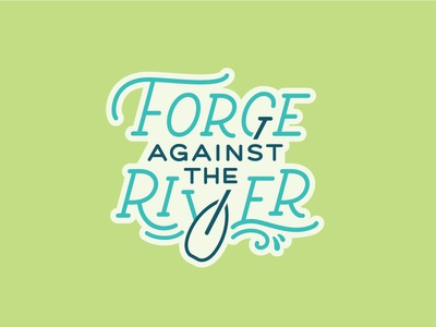 Sticker blue green river forge water paddle sticker type typography