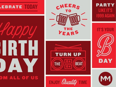 Cheers to the years red color blocks party cheers celebration illustration type typography card birthday