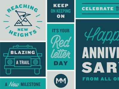 Keep on Keeping on color blocks mountain trail truck celebration illustration lettering custom type typography card anniversary