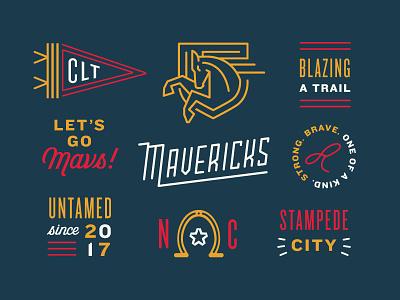 Mavericks north carolina horse shoe lasso pennant horse mascot school badge typography type brand logo