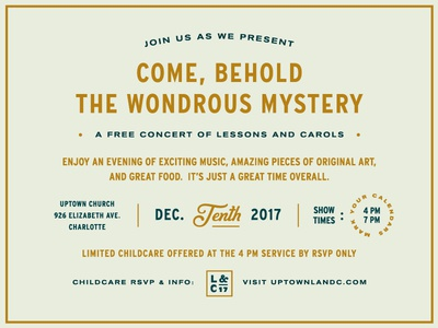 Lessons & Carols 17 christmas event type typography layout concert invitation