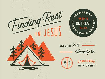 Spring Retreat orange retreat church mountain tree tent lockup badge typography illustration