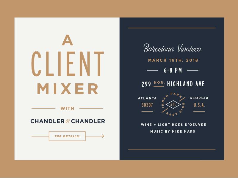 Client Mixer gold line atlanta wine event invite print invitation type lockup typography