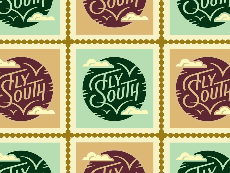 Fly South enamel pin scenic south fly nature circle clouds birds illustration travel lettering type typography