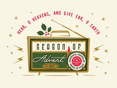 Advent event vintage design retro radio advent christmas illustration typography