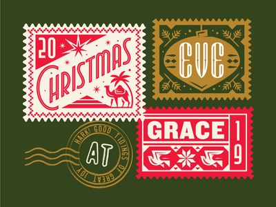 Christmas Eve postage vintage stamp ornament dove camel print event christmas type illustration typography