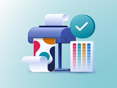 Color Proofing Icon proof printer color icon design illustration