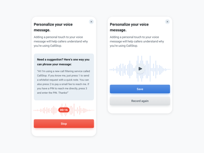 Personalize voice message onboarding workflow details voice mobile app user experience user interface design application app ux ui