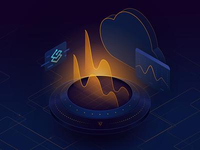 Traefik Pilot Illustration virtual dashboard stats cloud digital web isometric illustration ui design