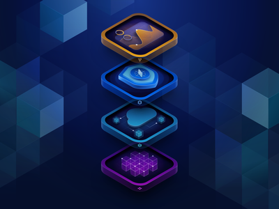 New Stack Graphic for TraefikLabs layers stack stats shied grid cubes web isometric illustration ui design