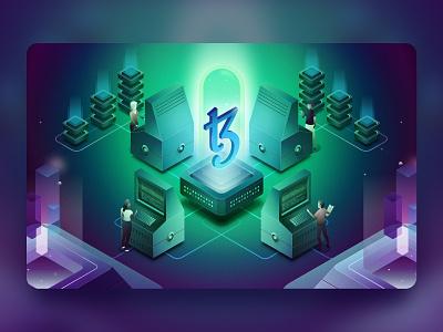 Tezos Blockchain Illustration - Variant marketing code technology lab laboratory servers computers retro open source tezos crypto vector design isometric illustration blockchain
