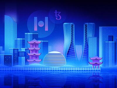 Tezos - Protocol Hangzhou Illustration nft blockchain illustration asia city buildings skyline hangzhou crypto tezos