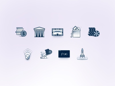 Financial Icons 💵 shares treasury bounds cash financial illustration design icons invest economy money finance