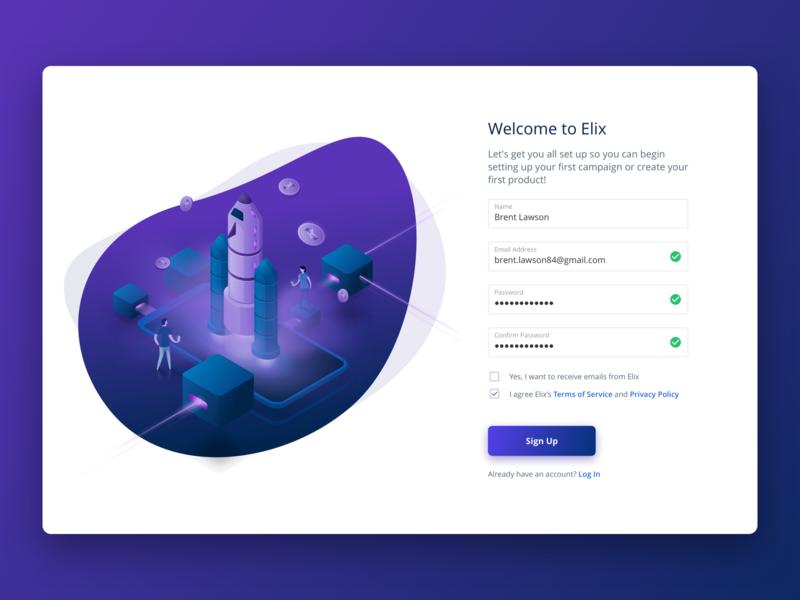 Elix Sign Up signup ethereum crowdfunding cryptocurrency blockchain ux isometric web illustration design ui