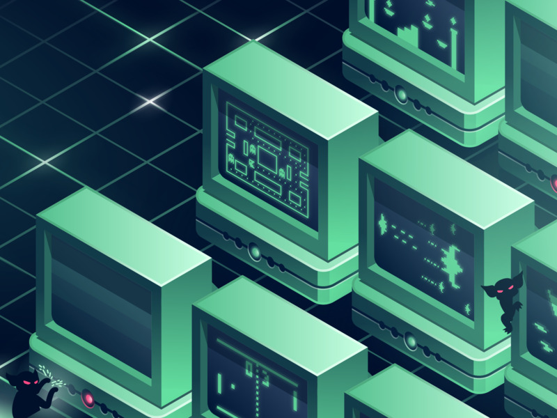 How to Run a GameDay - Blog Post Illustration header blog marketing design isometric illustration screen old computer grid gremlin engineering chaos retro videogame 80s sketch
