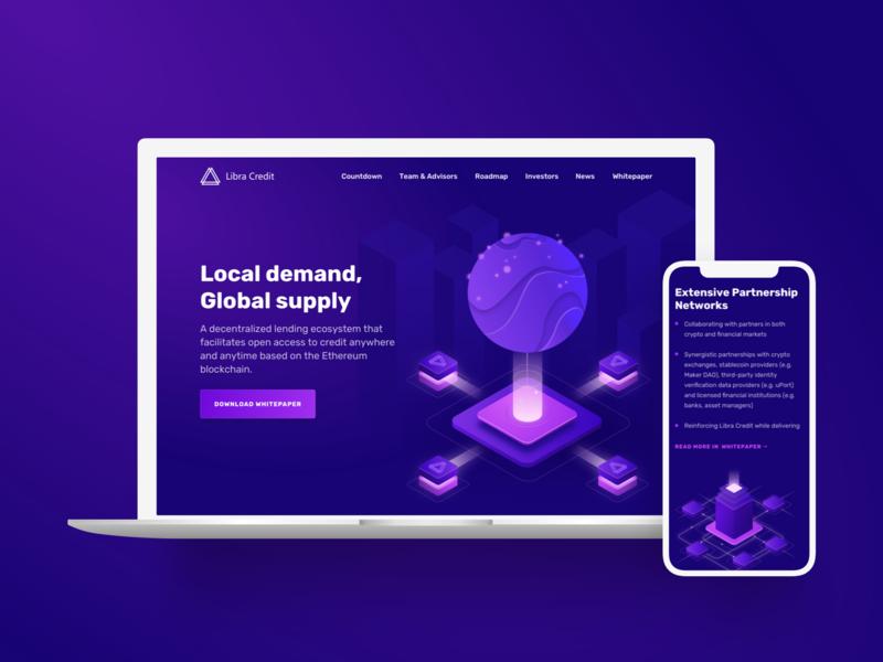 LibraCredit Case Study cryptocurrency ui ethereum design banking isometric illustration landing page web fintech