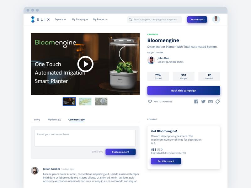 Campaign Detail Page - Elix detail page campain crowdfunding elix ethereum cryptocurrency ux blockchain web design ui