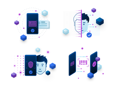 Authentication Icons token illustration isometric icon security checkpoint identity barcode scan face id authentication two factor blockchain elix elixir