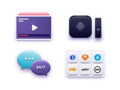 Icons tv tv logo android player 3d icons design on demand vod icon icons design illustration ui