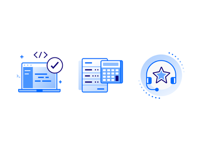 Product Overview Icons vector icons design code support calculator computer digitalocean ocean digital icons design illustration