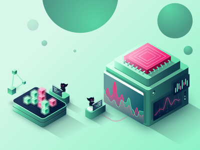 What Is Chaos Engineering Illustration servers computer green panels cubes development gremlin chaos engineering cpu stats chart server design isometric illustration