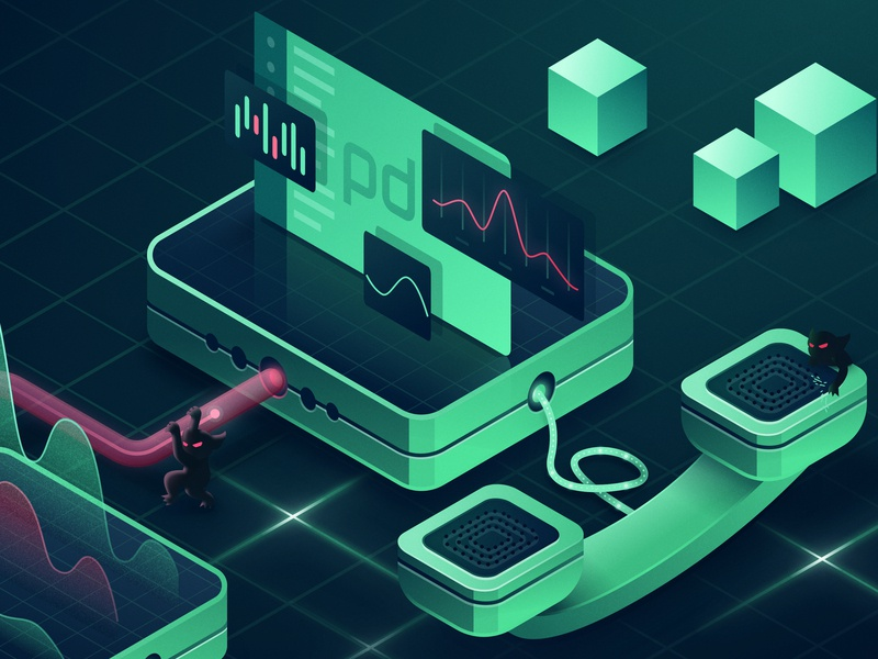 Pagerduty Alerts Illustration console phone grid cubes charts engineering chaos gremlin alerts development pagerduty vector digital isometric design illustration