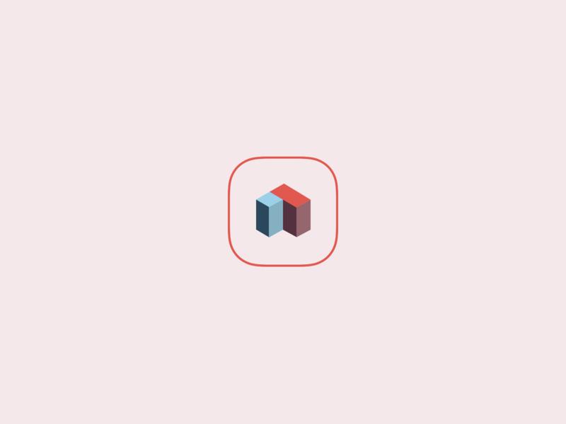 Aspire Logo blue red pink blocks icon design vector abstract shape illustration color mark logo