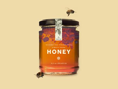 Honey Jar texture product summer food 3d flowers font mark logo typography honey packaging