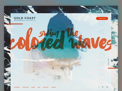 Travel Australia - Destination Site Design beach travel tech minimal grid landing web design web design typography