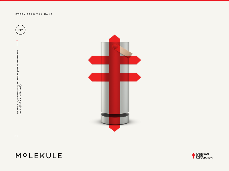 Molekule Campaign One type minimalistic logo red product ui layout advertising identity concept color branding